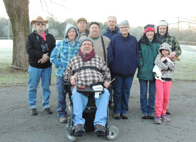 Darryl, Melissa, Jack, Greg, Stephen, Ken, Kristy, Laura, Roy, Josellen & Suzy pose for a frostbitten photo before racing off to count birds for the Christmas Bird Count in Wilson County, Tennessee on 2 January 2016