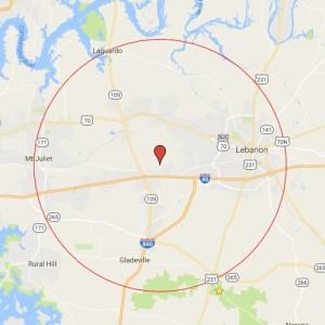 Wilson County Christmas Bird Count Circle Map